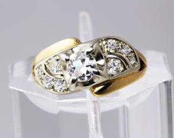 Vintage Antique .57ct Diamond 14K White & Yellow Gold Art Deco Engagement Wedding Ring