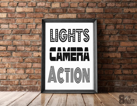 Lights Camera Action Wall Decor : Lights Camera Action Printable Art Hip Hop Prints