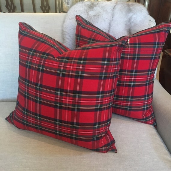 Red Tartan Pillow Cover, Stewart Plaid Pillow Cover, Red Plaid Pillow, Red Tartan, Christmas Pillow, Check Pillow, Holiday Decor