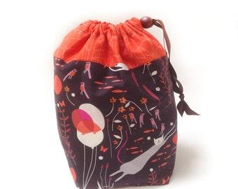 Drawstring Bag Knitting Project - Birds, Fish & Cats
