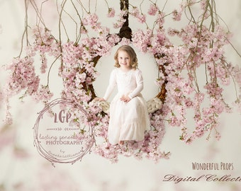 Cherry Swing - Digital Backdrop - Photo Prop for Newborn Photography