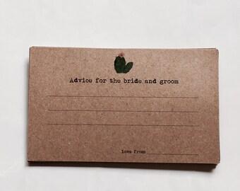 Set 25 - cactus advice card - rustic guest book - kraft guest book - Wedding advice - cactus guest book - kraft index card - desert theme