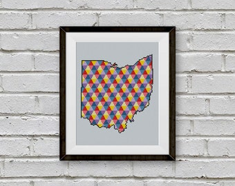 BOGO FREE! Ohio Cross Stitch Pattern, Stripe Ohio Silhouette Сounted Cross Stitch Chart, Embroidery Needlework PDF Instant Download #039-22