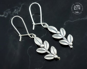 olive leaves silver earrings, olive leaf, silver olive leaf, olive leaf earrings, olive leaves, leaf earrings, silver leaf, greek earrings