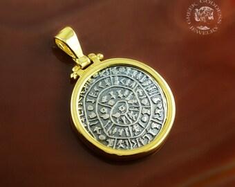 Phaistos Disc golden silver pendant, antique pendant, Phaistos Disc pendant, silver Phaistos Disc, greek pendant, ancient pendant, Phaistos