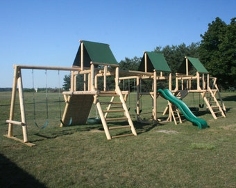 3 Tower Multi Station Cedar Log Playground Set