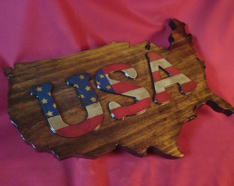 USA--Patriotic Stars and Stripes on Cut Out of the United States of America