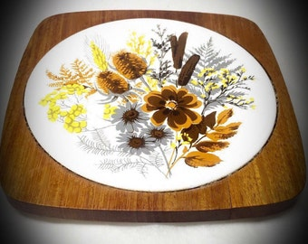 vintage floral hand painted wood and tile trivet hot plate made in Japan