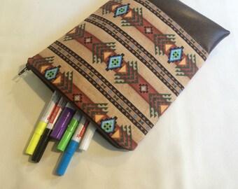 Aztec print,vegan leather, i pad case, makeup bag, travel bag, pencil case, marker bag