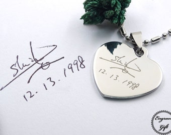 Handwriting Heart Necklace - Actual writing on steel - Personalized Heart Pendant - Custom Gift - Personalized Gift - Steel Heart Memorial