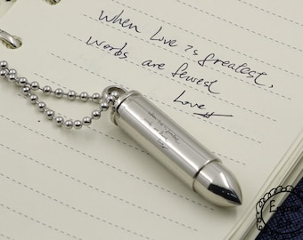 Your Handwriting solid Bullet  Pendant - Memorial Keepsake Jewellery - Personalised Engraved, for him, deployment gift