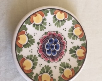 Vintage Miniature Painted Italian Art Pottery Wall Hanging Plate