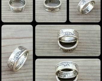 U.S. Barber Half Dollar Coin Ring 90% Silver 1892-1915