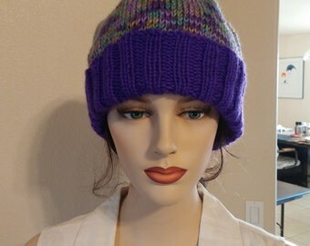 Hand Knitted Beanie in Purples