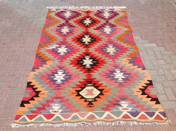 """8'5"""" x 5'2"""" Kilim rug, Vintage Turkish kilim rug, kilim rug, rug, vintage rug, bohemian rug, Turkish rug, rug, light purple"""