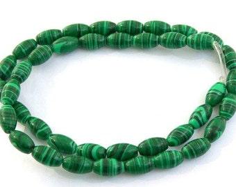 Natural Malachite Gemstones 12mm, Green Smooth Rice, Beads,
