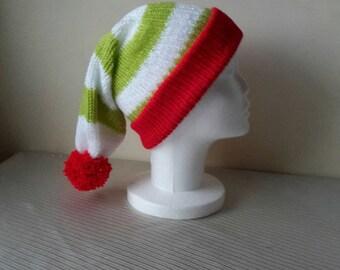 Adult Elf Hat - Christmas Elf Hat - Knitted Elf Hat - Christmas Hat - Mens - Womens - santa - xmas - elf - party