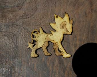 Pokemon inspired laser cut wood pendant Luxray