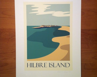 Hibre Island, Wirral, Liverpool, Sand Dunes, Travel poster, thejonesboys, Liverpool prints, Wirral, prints, River Dee