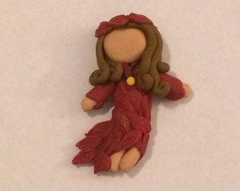 Polymer clay four seasons Fall girl