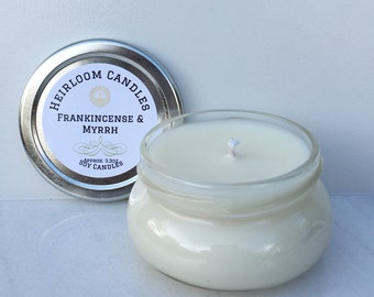 Frankincense Myrrh Scented Soy Candle in Glass Jar - Holiday soy candle - Christmas Candle - Frankincense Soy Candle - religious soy candle