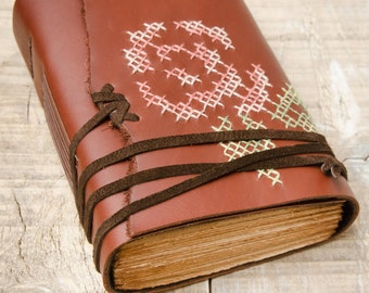 Reddish Brown Leather Journal, Handbound Journal, Leather Diary, Notebook