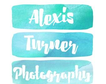 Premade Customizable Watercolor Logo - The Alexis - Business Cards - Blog - Marketing - Branding