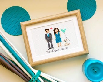 2 Adults And A Pet. Custom Cross Stitch, Cotton Anniversary Gift For Him , Gift for Couples, Housewarming Gift, Gift For Men, Mother's Day
