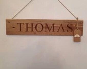 Solid Oak Name Plaque