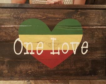 One love, framed wood one love