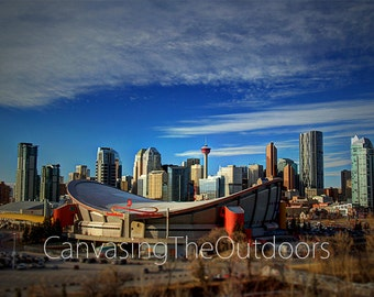 Calgary Skyline Digital Download Calgary Tower Saddledome Bow Building Elbow River