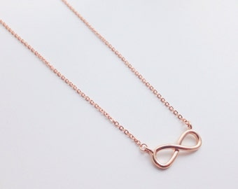 Rose gold infinity necklace, pendant necklace, simple necklace, minimalist, infinity necklace, minimalism, cute necklace, jewelry, jewelries