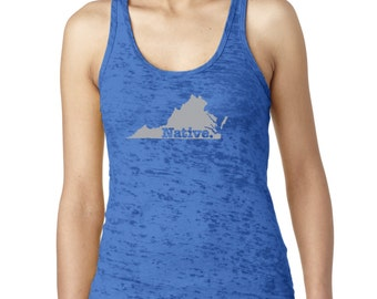 State of Virginia Native Borned and Raised Women's Burnout Tank