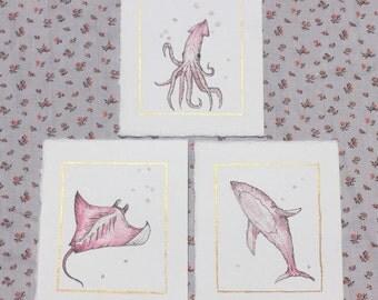 Sea Creature Water Color, Sealife Watercolor