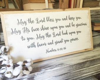 1x2 Numbers 6:24-26 Wood Scripture Sign