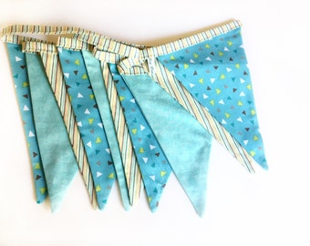 fabric bunting flags, baby shower bunting, reversible, Nursery garland, fabric banner, geometric bunting, Photo prop, Party decor.