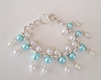 Blue and White Glass Pearl Bracelet, Blue and white bracelet, Blue and white beaded bracelet, Light blue and white beaded bracelet