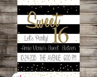 Sweet Sixteen Black White & Gold, Childs Birthday, Teen Birthday Invitation- Printable Invitation