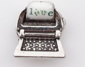 "Typewriter Writer Word ""Love""  Floating Locket Charm Living Memory Lockets - 66L"