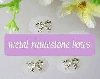 10 Metal Rhinestone bows