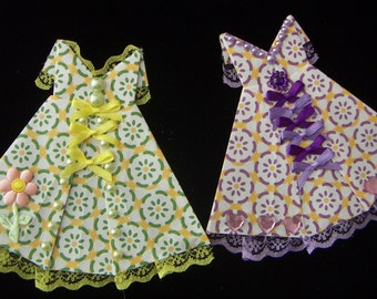 Origami Dresses Spring Summer Any Day Sweet Yellow and Purple Country Origami Dress for Cards Scrapbooking Embellishment