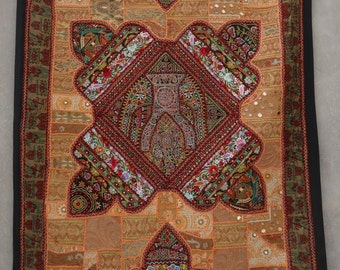 Indian Patchwork Wall hangings Beaded Tapestry Vintage Decorative Art BY artisanofrajasthan