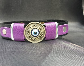 Evil Eye Accented with Purple Leather on Black Or Brown Leather Bracelet