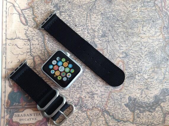 Apple watch original, series 1, series 2 band: Zulu strap (silver rings) 2-piece (Black) 42mm, Free Shipping Worldwide!