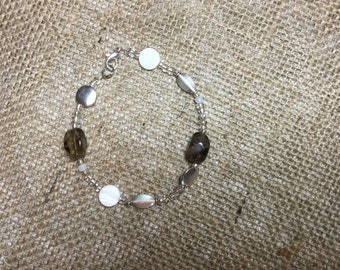 Stone, glass, silver, metal bracelet.