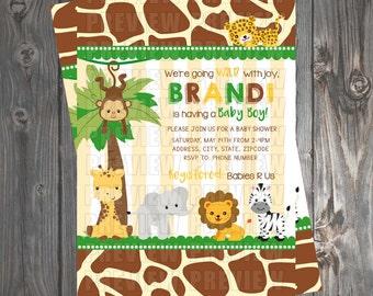 It's A Boy Wild Jungle Baby Shower Invitation