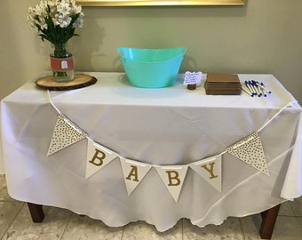 "Wooden Pennant ""Baby"" Banner, Baby Shower, Nursery Decor, Pennant Banner"