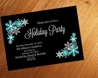 Printable, Holiday Party invitation,  5x7 personalized, custom, Christmas party,snowflakes,  downloadable