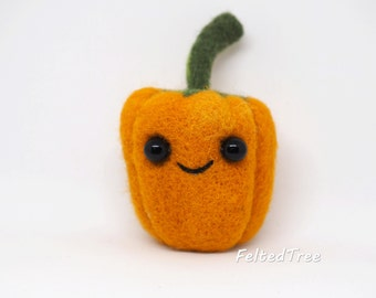 Felted wool toy sculpture vegetable pepper decoration handmade