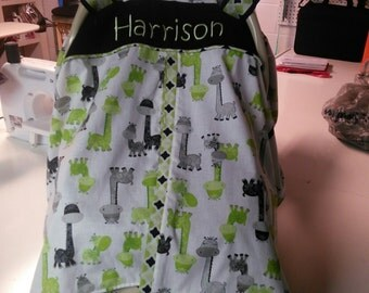 Boy Car Seat Cover; Green, Black and Gray Car Seat Canopy; Personalized Car Seat Cover